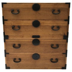 Natural Wood Japanese Tansu Chest