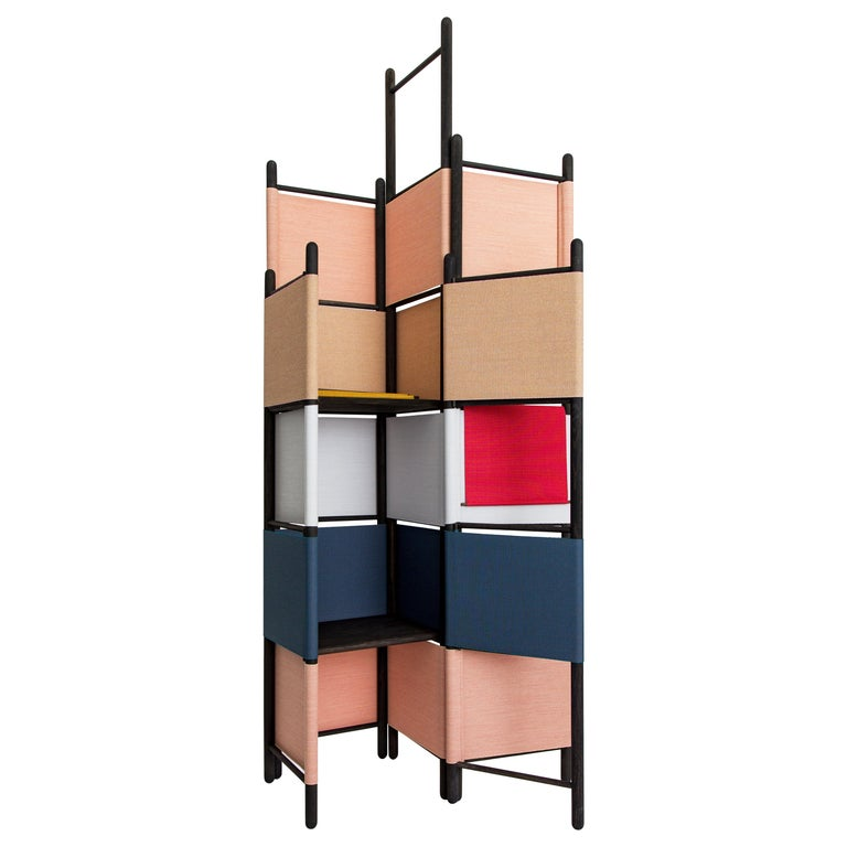 Natural Wood Spatial Screen Partition, Room Divider with Shelves by Rive Roshan For Sale