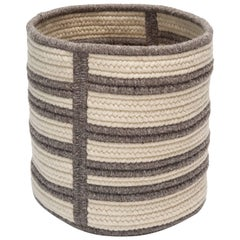 Natural Woven Wool Basket in Dark Grey, Custom Crafted in the USA, Raised Line