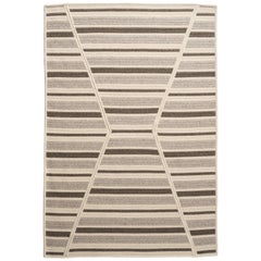 Natural Woven Wool Rug in Grey Cream, Custom Crafted in USA & Reversible, Sands