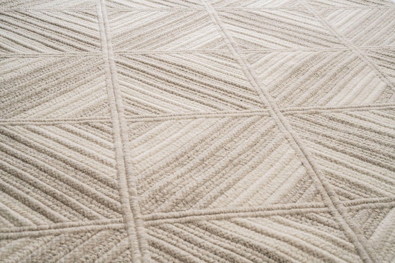 Araz Natural Woven Wool Rug in Light Grey, Custom Made in USA In New Condition For Sale In Milton, MA
