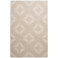 Araz Rug, Natural Woven Light Grey and Cream Wool, Custom Made in USA