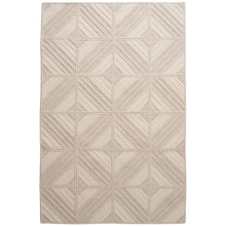 Araz Natural Woven Wool Rug in Light Grey, Custom Made in USA For Sale