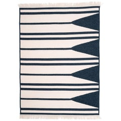 Natural Woven Wool Rug in Navy and White, Custom Made in the USA, Aya Rug