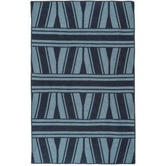 Natural Woven Wool 'Studio' Rug in Navy- Reversible, Custom Made in the USA
