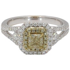 Natural Yellow .50 Carat Cushion Diamond and .52ct White Diamonds 18k Gold Ring