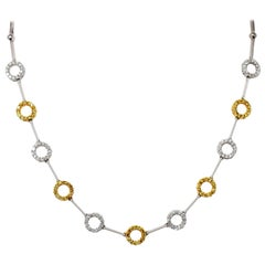 Natural Yellow and White Diamond Circle Station Link Necklace in 18 Karat Gold