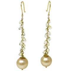 Natural Yellow Briolette Diamond and South Sea Pearl Earrings in 18 Karat Gold