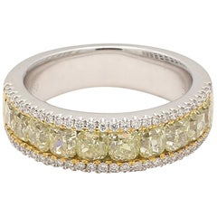 Natural Yellow Cushion and White Round Diamond Band 18 Karat Gold