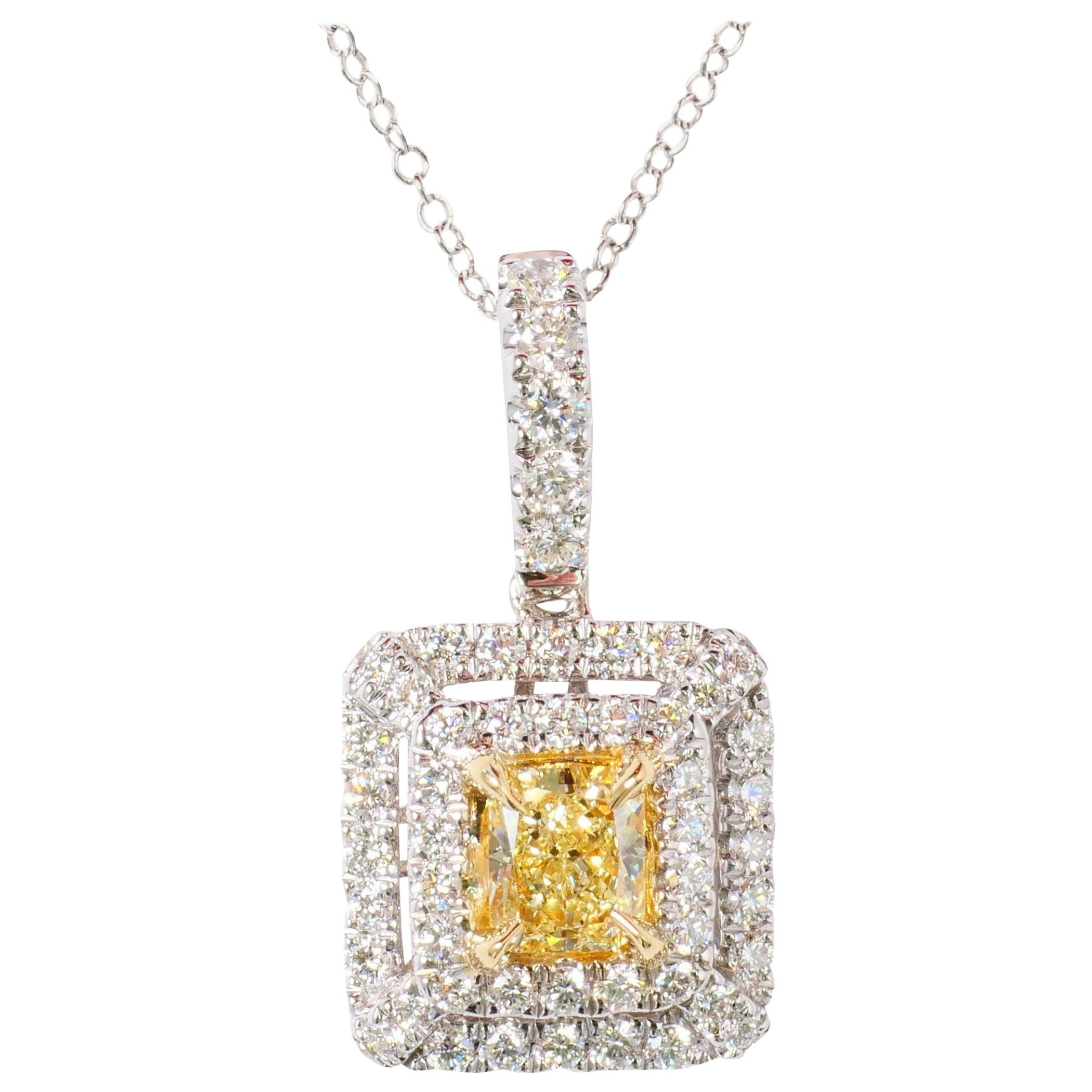 Natural Yellow Cushion Cut Diamond 0.52 Carat and White Diamond Pendant 18k Gold