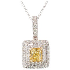 Natural Yellow Cushion Cut Diamond 0.52 Carat and White Diamond Pendant 18k Gold