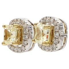 Natural Yellow Cushion Cut Diamonds with a White Diamond Jacket 18 Karat Gold