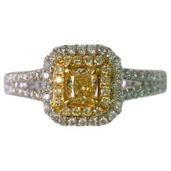 Natural Yellow Cushion Diamond and White Dia. Ring 0.77ct Total Weight 18k Gold