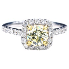 Natural Yellow Diamond 18 Karat Gold Halo Engagement Ring