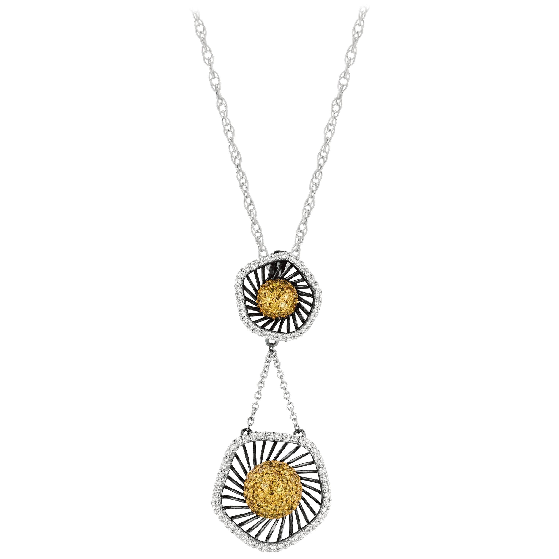Natural Yellow Diamond and White Diamond Floral Pendant