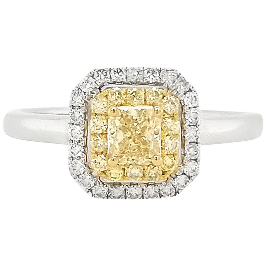 Natural Yellow Diamond and White Diamond in 18 Karat Gold Engagement Ring