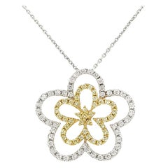 Natural Yellow Diamond and White Diamond in K18 Gold Pendant with Chain