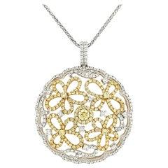 Natural Yellow Diamond and White Diamond in Platinum Pendant with Chain