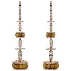 Natural Yellow Diamond Beads and Diamond Chandelier Earring