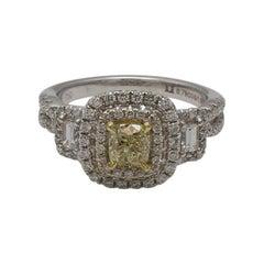 Natural Yellow Diamond Cushion Cut Double Halo 1.50 Carat TW White Gold Ring
