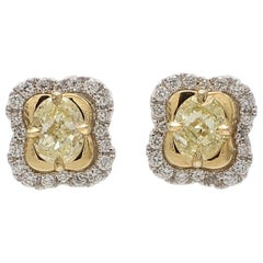 Natural Yellow Diamond Earring with White Halo Jacket 1.10 Carat Total Wt. 18K