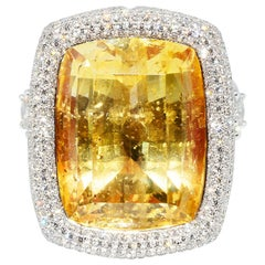 Natural Yellow No Heat Sapphire and Diamond Ring Platinum and 18k Yellow Gold
