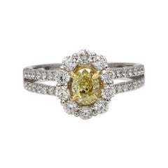 Natural Yellow Oval & White Diamond 1.57 Carats Tw 18k Gold Ring
