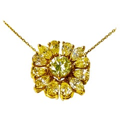 Natural Yellow Pear Shape, Marquise and Round Diamond Pendant in 18 Karat Gold