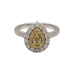 Natural Yellow Pear Shape & White Diamond 1.39 Carats Tw 18K Gold Ring