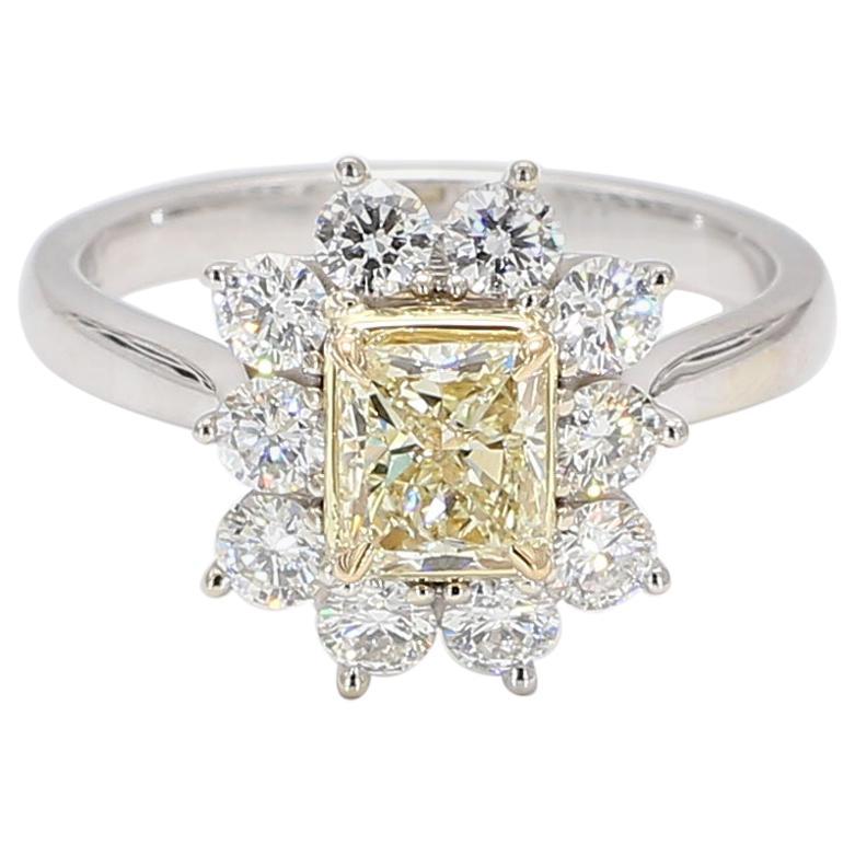 Natural Yellow Radiant and White Diamond Ring 1.74 Carat Total Diamond 18k Gold