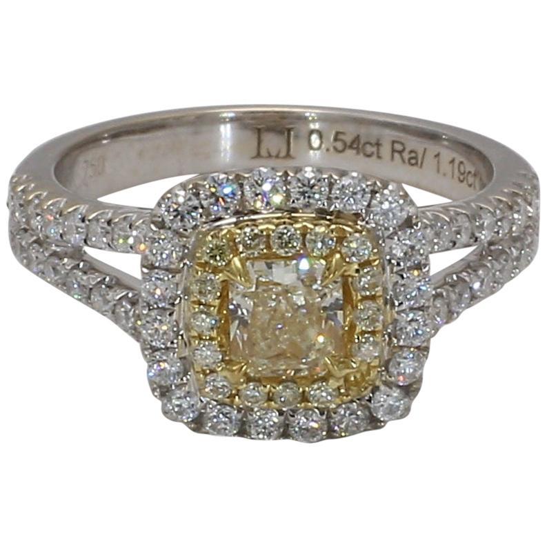 Natural Yellow Radiant Cut and White Diamond Ring 1.19 Carat Total 18 Karat Gold