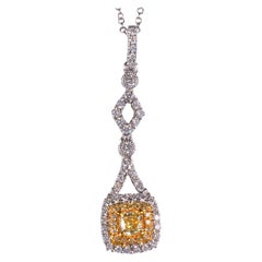 Natural Yellow Radiant Cut Diamond with Yellow & White Melee Necklace 18k Gold