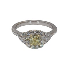 Natural Yellow Radiant Cut & White Diamond 0.93 Carats Total 18k Gold Ring