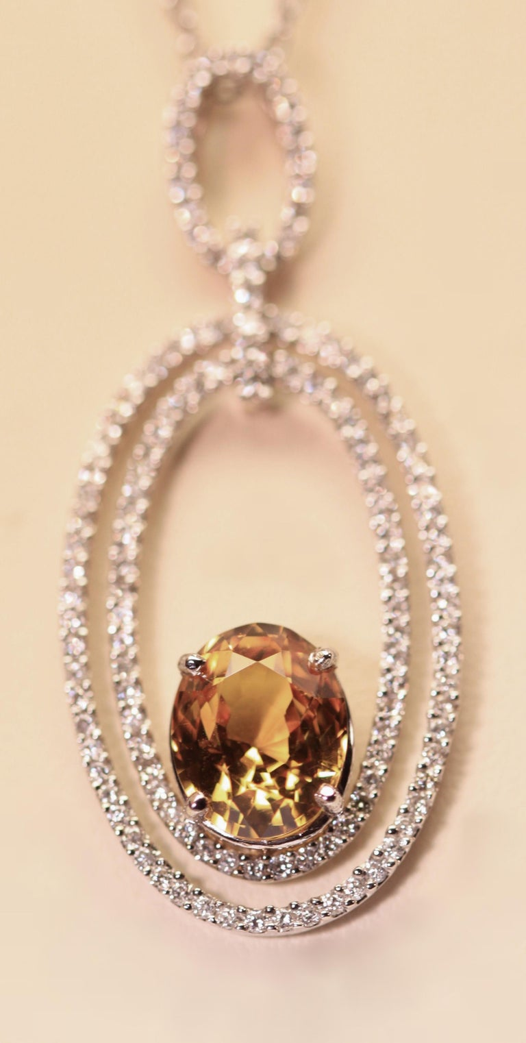 Contemporary Natural Yellow Sapphire and Diamond Pendant 4.05 Oval Yellow Sapphire 18 Karat For Sale