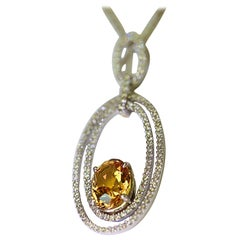 Natural Yellow Sapphire and Diamond Pendant 4.05 Oval Yellow Sapphire 18 Karat