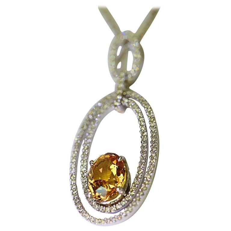Natural Yellow Sapphire and Diamond Pendant 4.05 Oval Yellow Sapphire 18 Karat For Sale
