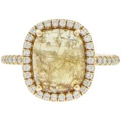 Natural Cushion shaped Yellow Sapphire and Diamond Ring