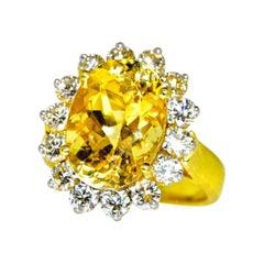 Natural Yellow Sapphire and White Diamond Ring