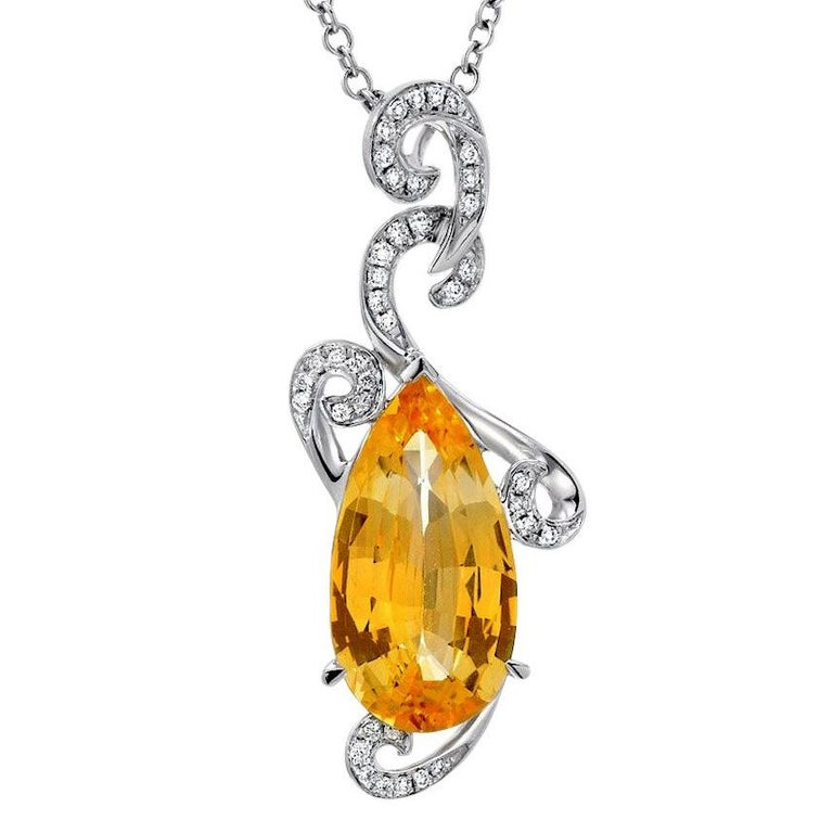 Natural Yellow Sapphire Pendant 5.13 Carats GRS Certified Ceylon Unheated For Sale