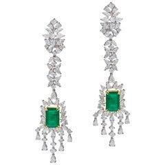 Natural Zambian Emerald and Diamond Earring