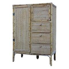 Naturalist Cabinet Wardrobe Bamboo Mid-Century Italian Design Drawers and Doors