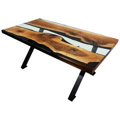 Primitive 180 Epoxy Resin Dining Table with Black X Legs