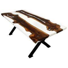 Primitive 200 White Epoxy Resin Dining Table with Black x Legs