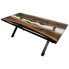 Primitive 220 Epoxy Resin Dining Table with Black X-Base