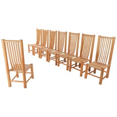 Naturalist Solid Elm Dining Room Chairs in the Style of Pierre Chapo