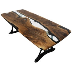 Urbane 220 Epoxy Resin Dining Tables with Sand Casted Aluminum Base