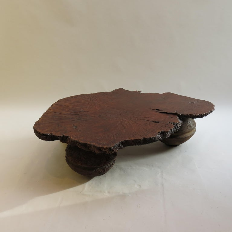 Australian Naturalistic Bespoke Karri Burr Wood and Antique Wooden Base Table For Sale