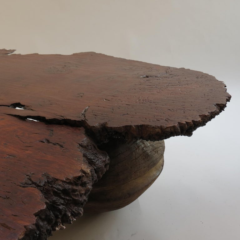 20th Century Naturalistic Bespoke Karri Burr Wood and Antique Wooden Base Table For Sale