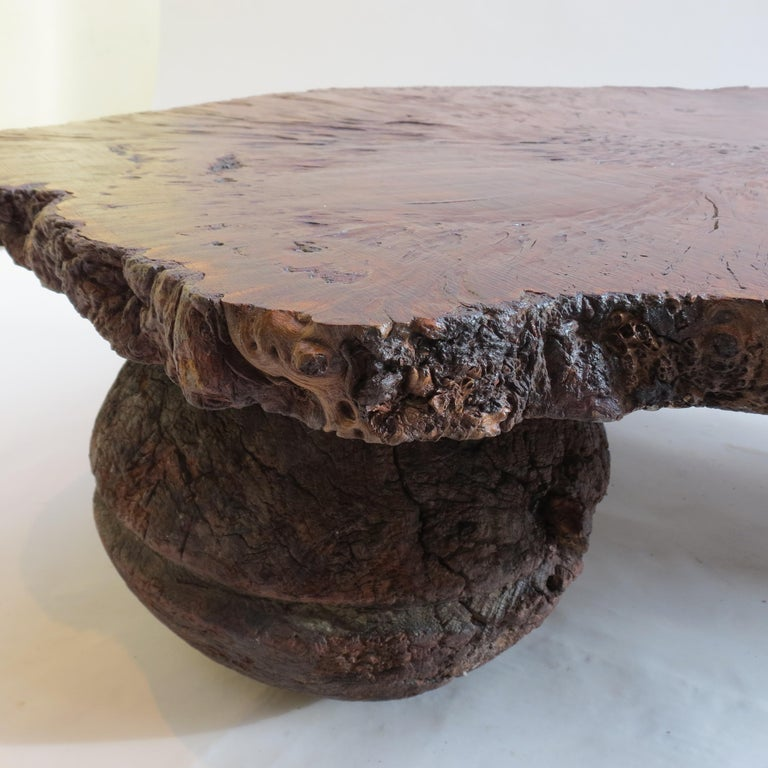 Naturalistic Bespoke Karri Burr Wood and Antique Wooden Base Table For Sale 2