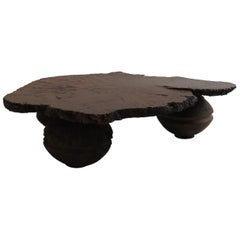 Naturalistic Bespoke Karri Burr Wood and Antique Wooden Base Table